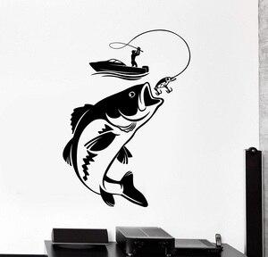 Image 1 - Décor maison vinyle mur décalcomanie poisson canne à pêche passe temps pêcheur autocollant Mural Unique cadeau décalcomanie intérieur papier peint 2KN10