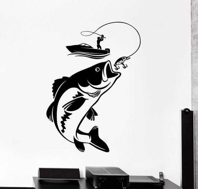 Décor maison vinyle mur décalcomanie poisson canne à pêche passe temps pêcheur autocollant Mural Unique cadeau décalcomanie intérieur papier peint 2KN10