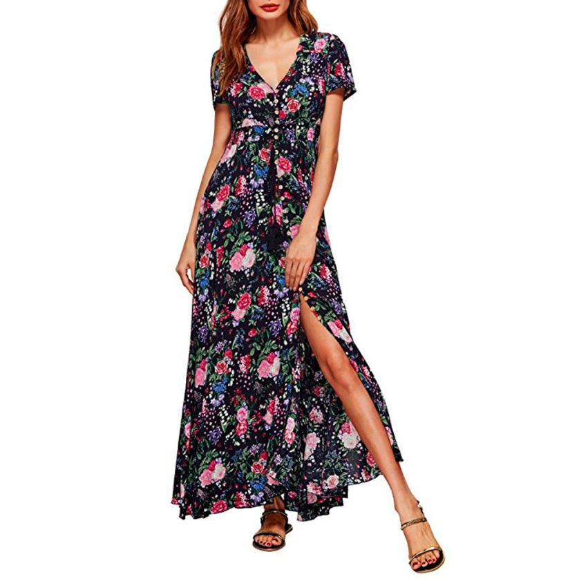 snowshine YLI Sexy Women Long Bohemia Short Sleeve Floral Print Beach Party Casual Dress free shipping