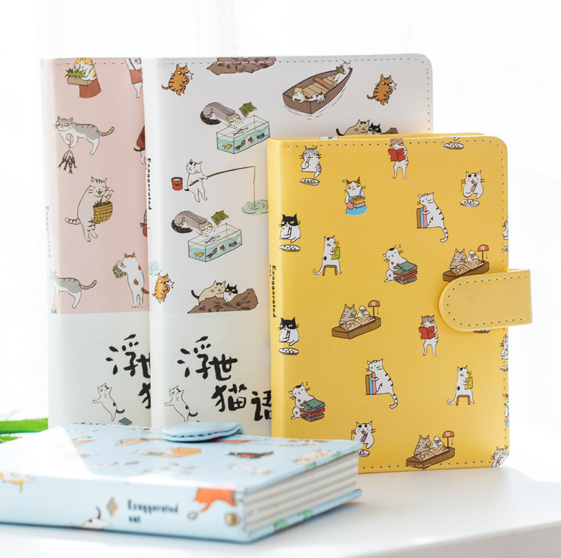 Cute Cat Notebook Weekly Planner Agenda Leather Travel Diary Note Book Notitieboek Notepad Bullet Journal Supplies Stationery