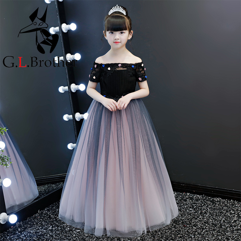 Shoulderless Flower Girl Dresses Floor Length Princess Prom Dress Appliques Kids Pageant Dress For Birthday Girls Evening Dress