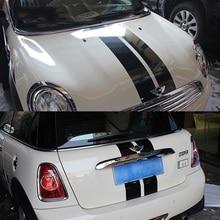 Средние параллельные линии капот+ наклейки на багажник автомобиля и наклейки для BMW MINI Cooper S хэтчбек R56 2007- Аксессуары для стайлинга автомобилей