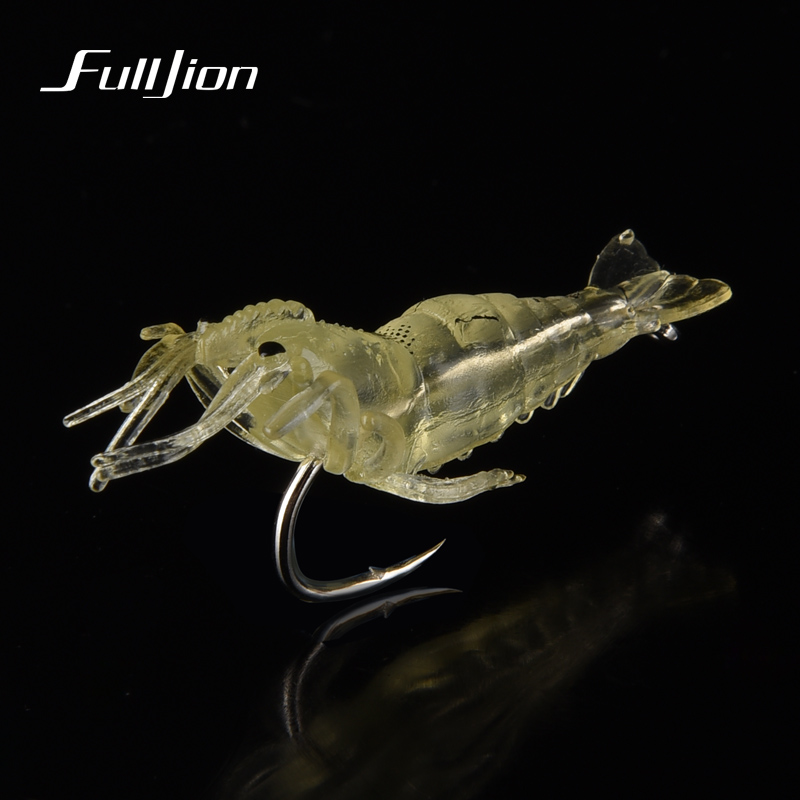 Fishing Lures Wobbler Shrimp Simulation Soft Prawn Luminous Lure With Hooks Fishing Tackle Pesca Artificial Baits 4 Colors цена