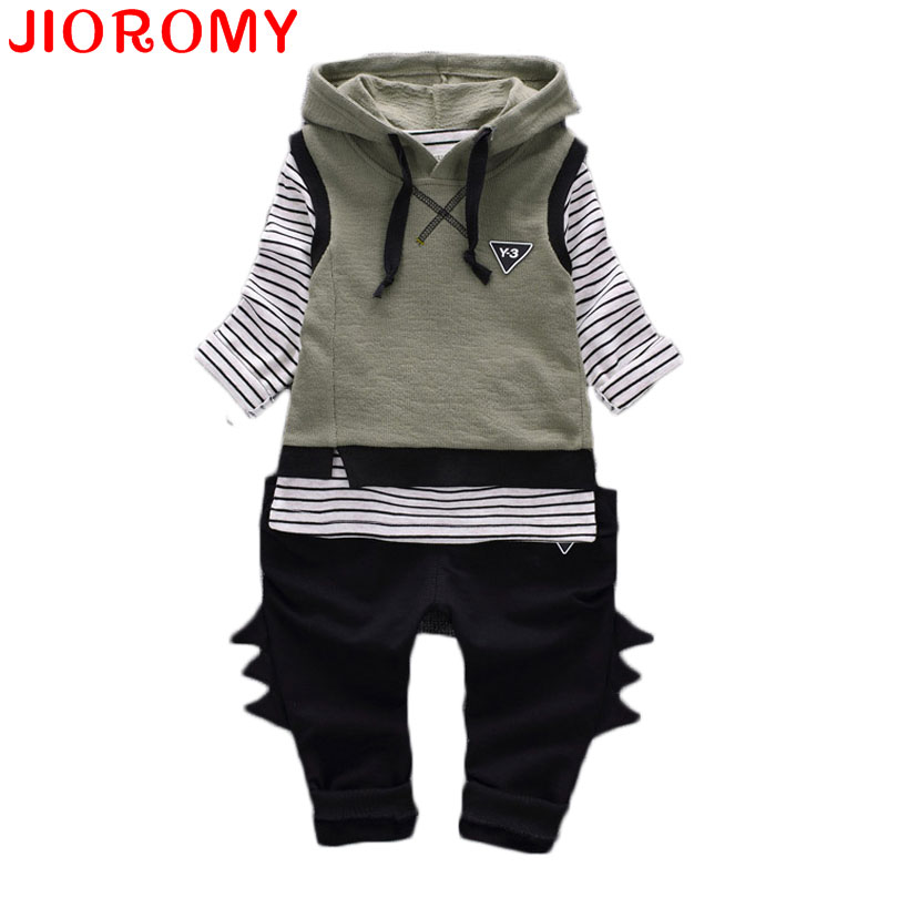JIOROMY Boy Clothes Suit Vest + T Shirt + Pants 3 Pieces Set Fashion Hoodies Striped Long Sleeve Cotton Apparel Baby 2017 Autumn