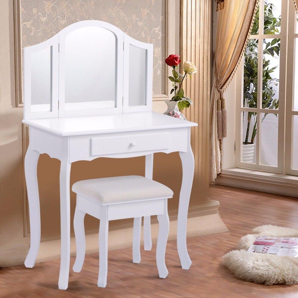 Goplus White Makeup Vanity Table and Stool Set Modern Tri Folding Mirror Bedroom Vanity Dressing Table Set Dressers HB84525 декор lord vanity quinta mirabilia grigio 20x56