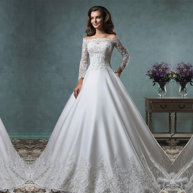 Boat Neck Long Sleeve Wedding Dresses 2017 New Coustom