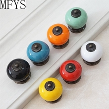 Dresser Knob Drawer Knobs Kitchen Cabinet Pulls Door Handle Pull Ceramic Colorful Red Blue Black Orange White Yellow Green