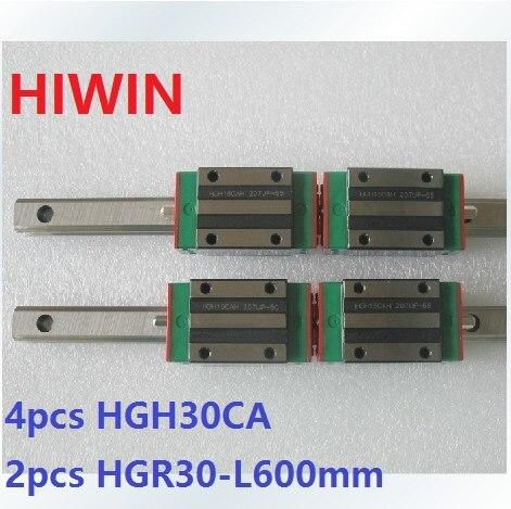 купить 2pcs 100% original Hiwin linear rail linear guide HGR30 -L 600mm + 4pcs HGH30CA linear narrow block for cnc router по цене 16727.39 рублей