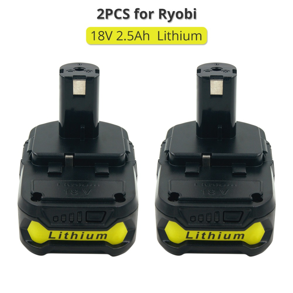 2PCS 18V 2.5A RB18L25 Lithium Ion Power Tools Drills Replacement Battery For Ryobi P108 P104 BPL-1815 BPL-1820G стоимость