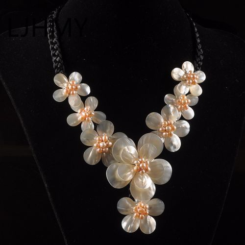 LJHMY k12839 51x15-30x3mm Mother of Pearl mop shell flower necklace 18Women Wedding Party Necklace GiftLJHMY k12839 51x15-30x3mm Mother of Pearl mop shell flower necklace 18Women Wedding Party Necklace Gift