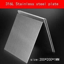 Plaque en acier inoxydable 316L, taille 1x200x200mm, feuille de métal surface brossée