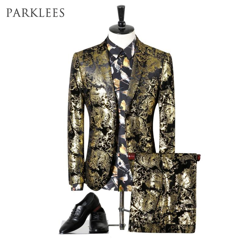 Floral Tuxedo Suits Dress Stage-Costumes Jacket/pants Slim-Fit Gold Black Design Mens