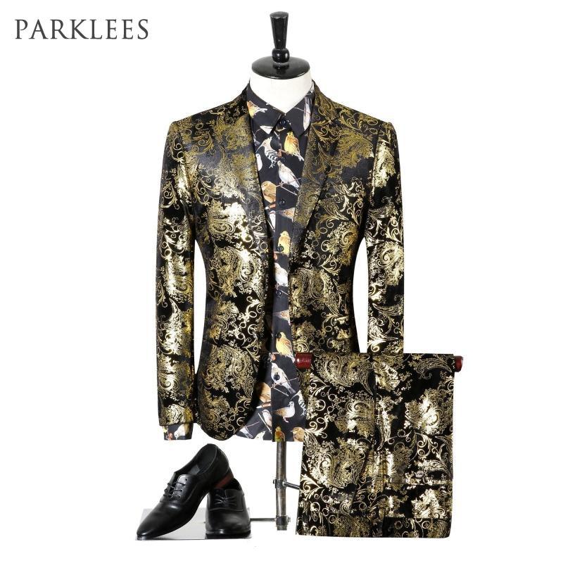 Paisley Wedding Suits Men Brand Design Black Gold Floral Tuxedo  Men Slim Fit Mens Dress Suits Stage Costumes Jacket/Pants Men XLfloral  tuxedotuxedo menbrand tuxedo