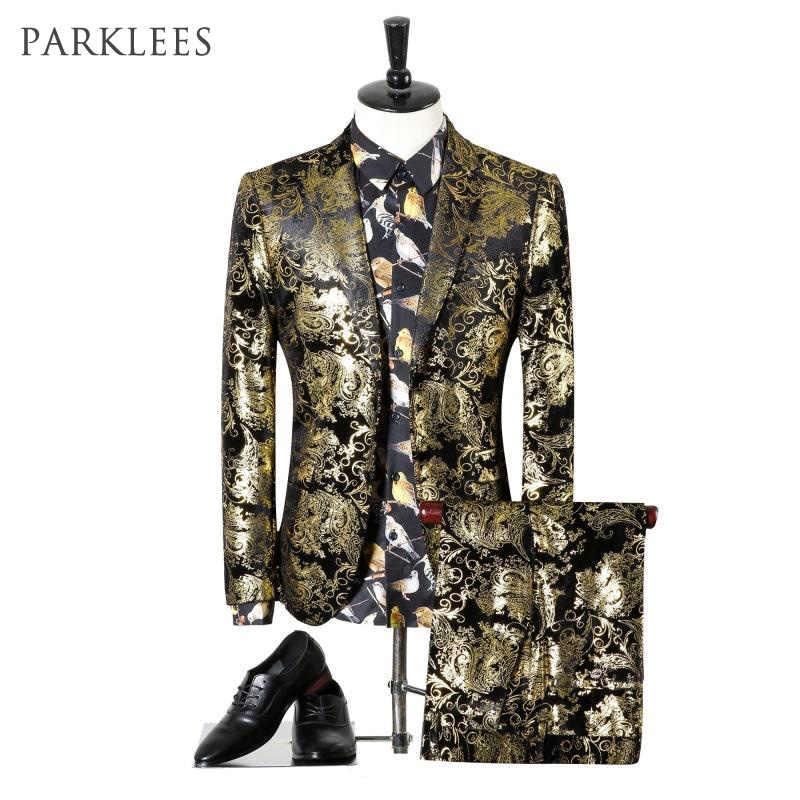 Paisley Wedding Suits Men Brand Design Black Gold Floral Tuxedo Men Slim Fit Mens Dress Suits Stage Costumes Jacket/Pants Men XL