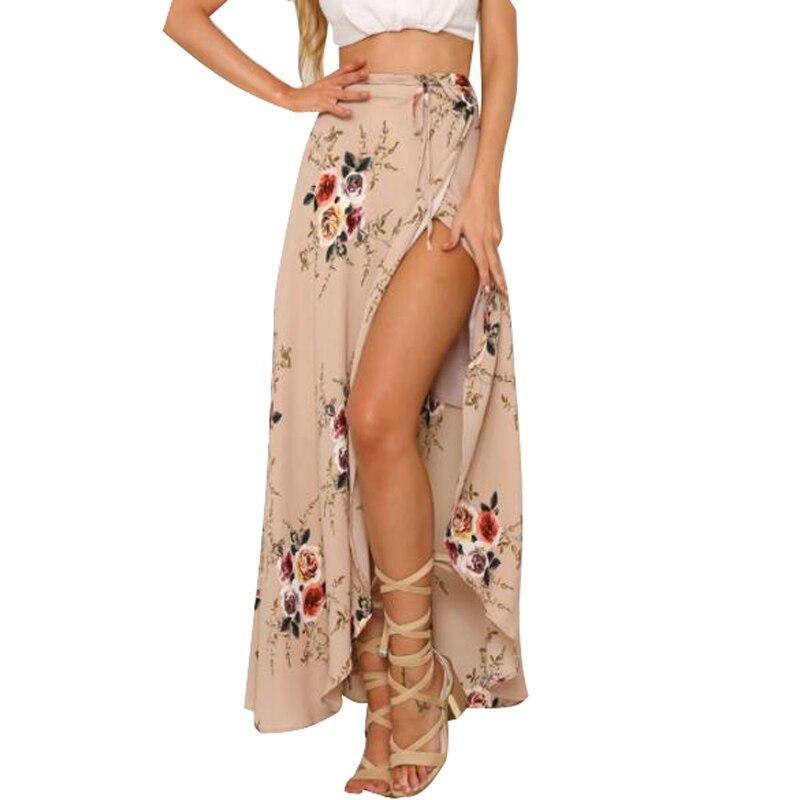 Mujeres blanco Irregular Falda larga 2017 verano Boho Vintage impresión Floral Slit Maxi falda cintura Faldas Mujer