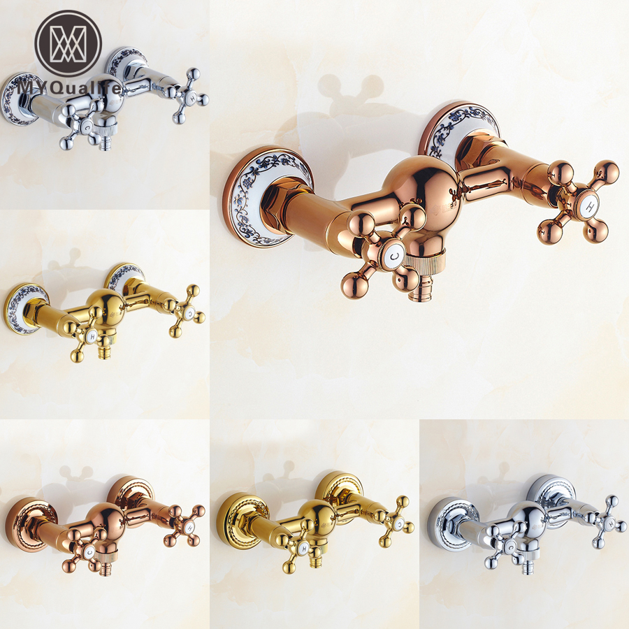Luxury Dual Handle Bathroom Shower Faucet Mixer Valve Wall Mount Hot and Cold Water Washing Machine Taps china sanitary ware chrome wall mount thermostatic water tap water saver thermostatic shower faucet