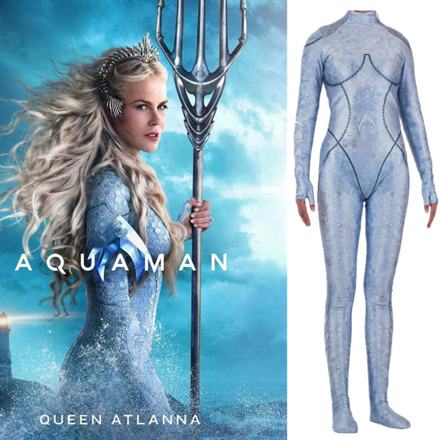 Movie Aquaman Reine Atlanna Jumpsuit Cosplay Costume Women Superhero Printing Bodysuit Zentai Tight Catsuit Christmas Costume