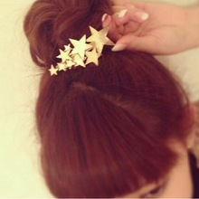 2016 New Fashion Women's Girl Five-pointed Star Hairpin Beauty Hair Clip Head Jewelry Hair Accessories Wholesale Gift