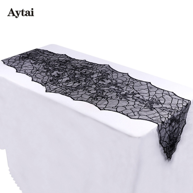 Aytai 10pcs Halloween Decoration 74x22 Inch Black Lace SpiderWeb Tablecloth  Leaf Table Runners Web Fireplace Mantle