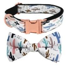 Кактус Персонализированные лазерной гравировкой ошейник для собаки галстук-бабочка с подходящим поводком