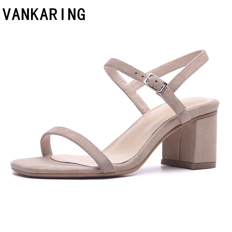 2019 summer women sheepskin square heel sandals high heels buckle strap female fashion dress woman sandal
