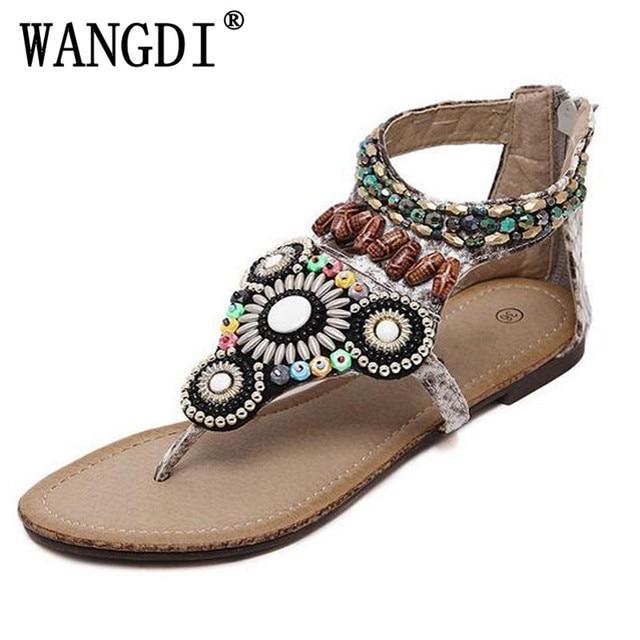 d8bd79a4c 2018 Bohemia Flats Gladiator Sandals Summer Beaded Slip On Flip Flops  Casual Comfort Shoes Woman 35-40 eur