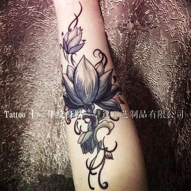 Lotus tatuaje retro brazo tatuaje temporal pegatinas sexo cuerpo tatuajes arte QC661 2017 nuevo