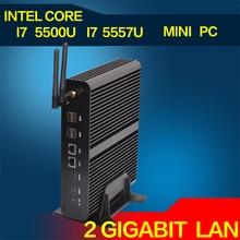 Fanless Mini PC Linux Windows 10 Broadwell Intel Core i7 5557U Max 3.4 GHz Graphique Iris 6100 HTPC 300 M Wifi 2 HDMI 4 K HD TV