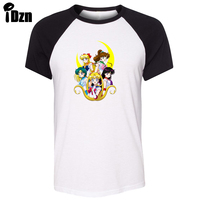 IDzn Unisex Summer T Shirt Funny Obesity Sailor Moon Power Mercury Mars Jupiter Venus Raglan Short
