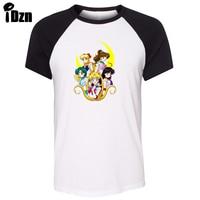IDzn Unisex Summer T Shirt Funny Obesity Sailor Moon Power Mercury Mars Jupiter Venus Raglan Short