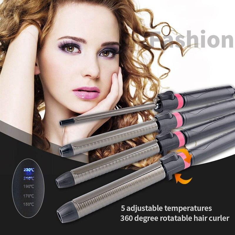 360 Rotatif Professionnel Cheveux Bigoudi Styling Outils Numérique Vague Cheveux LED Titane krultang Magique Fer À Friser Bâton 9-32mm 47