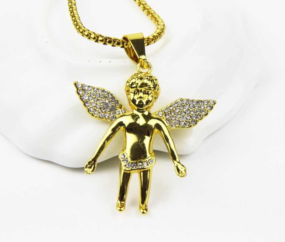 ZRM 20 sztuk/partia biżuteria 24K charms w kolorze złota chłopiec mikro anioł kawałek naszyjnik Hip Hop biżuteria dla mężczyzn