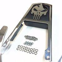 For 95 03 Harley Sportster 833 XL833 1200 XL1200 Motorcycle Skull Flame Rear Backrest Passenger Sissy Bar Leather Pad Chrome
