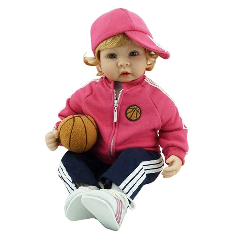 New Fashion 22 Inch Doll Sportswear Clothes With Hat Lifelike Soft Newborn Babies Dolls Birthday Gifts Lovely Girls Brinquedos
