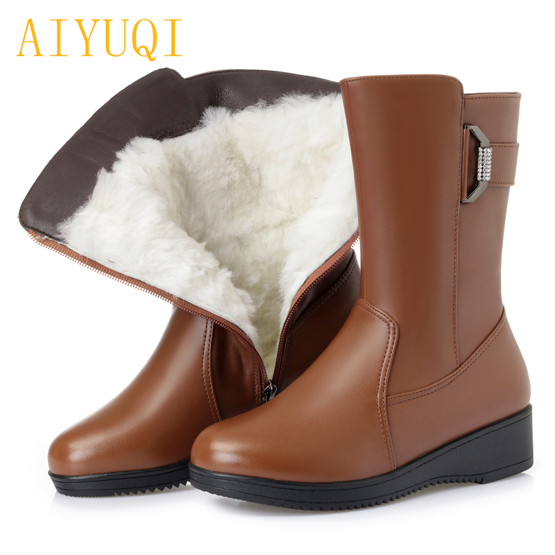 AIYUQI Female snow boots winter 2019 genuine leather female flat boots big size 41 42 43