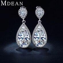 MDEAN Oro Blanco Plateado Cuelga Los Pendientes para las mujeres pendientes de gota de la boda de compromiso CZ diamond Joyería boucle d'oreille MSE040