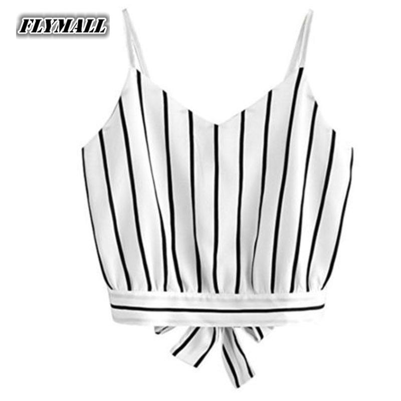 5e48163e22c8b Sexy Women Crop Tops Striped Tie Back Cami Casual Spaghetti Strap Bow Vest  Knot Cropped Tank Tops Vest cropped feminino