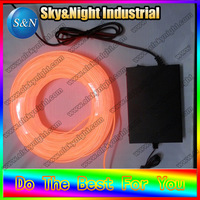 Flexible Neon Light Glow EL Wire Rope 2.3mm Orange color + 220v Inverter with Free Shipping