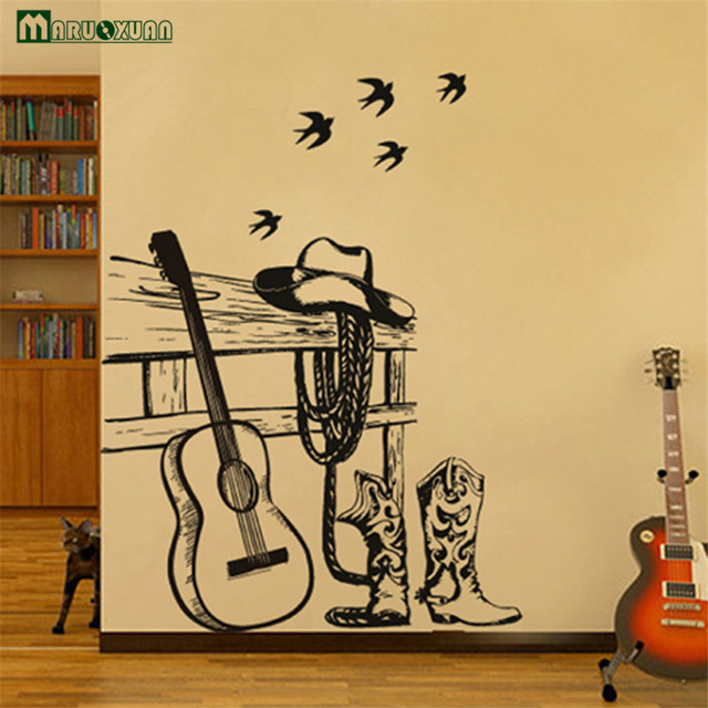 Guitar Cafe Shop Decoration Stickers Piano Music Art Stickers ...