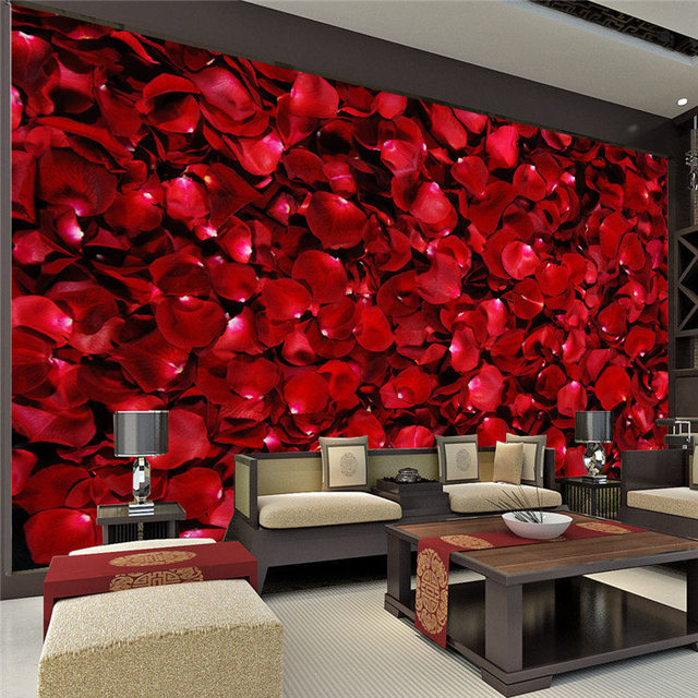 Buy romantic rose petals wall mural 3d for Bed decoration with rose petals