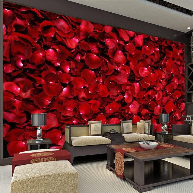 Buy romantic rose petals wall mural 3d for 1 wall decoration murale