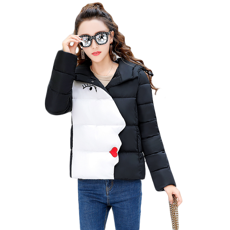 2017 New Fashion Girls Students Elegant Women Hooded Winter Short Slim Jackets Female Patchwork Cotton-padded Coat Parkas CM1770 aporia as original design women autumn winter fashion novelty slim rivets floral 3d print patchwork short cotton padded jackets