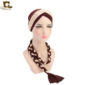 Image 5 - Frauen Geflecht Hüte Islamischen Gebet turban Hüte Muslimischen Turban Inclusive Cap Frauen Doppel Farbe Hijab Zöpfe Caps Haar Zubehör