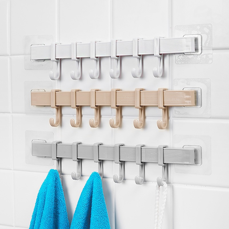 6 hook strong kitchen bathroom wall-mounted plastic hook free punching strong suction wall hooks for hanging clothes ZP7101020