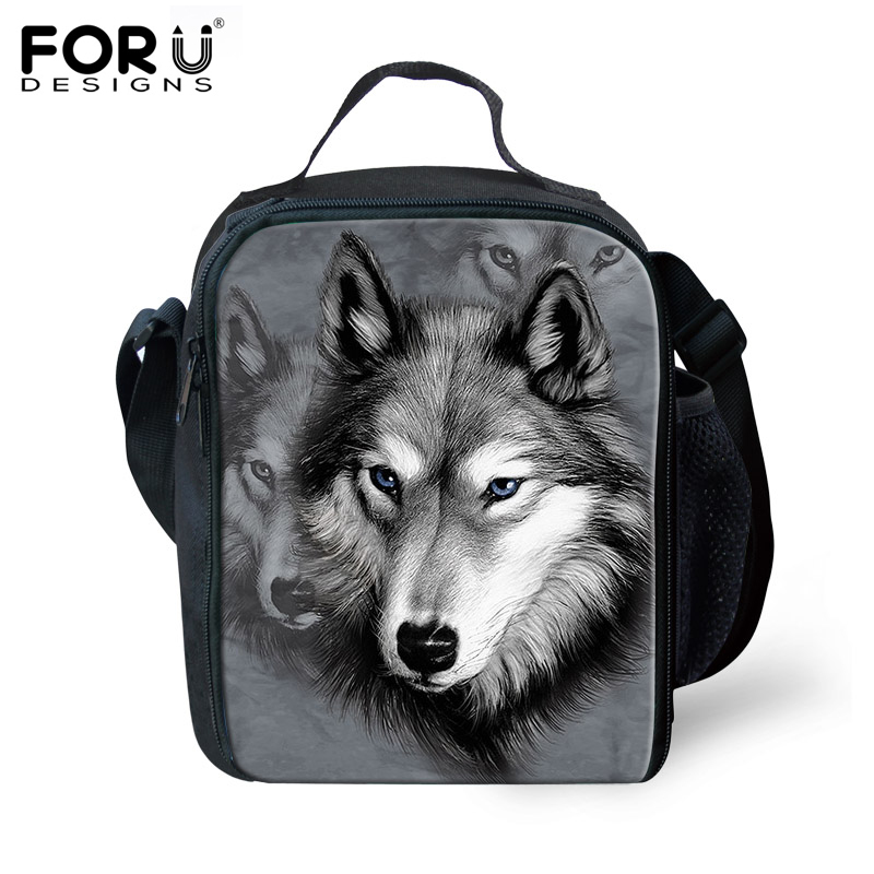 FORUDESIGNS 2017 Hot Bolsa Termica Cool Animal Wolf Tiger Lunch Bags For Kids Insulated Picnic Food Lunch Box School Food Bags animal food fruit picks forks lunch box accessory decor