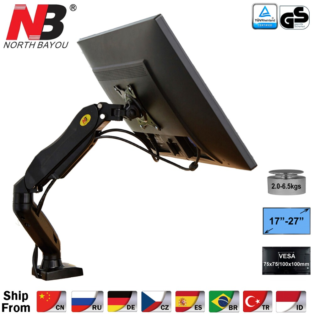 "NB F80 Desktop17 27"" LCD LED Monitor Holder Arm Gas Spring Full Motion Gas Strut Flexi TV Mount Loading 2 6.5kgs-in TV Mount from Consumer Electronics"
