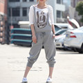 Free Shipping 2016 New Fashion Bib Pants Jumpsuit Harem Pants Plus Size S-9XL Customized Rompers For Women Black Grey Overalls