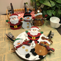 10pcs/ set Christmas Hat Shape Cutlery Bag Cute Pocket Fork Knife Holder Table Home Dinner Decoration Christmas Party Supplies