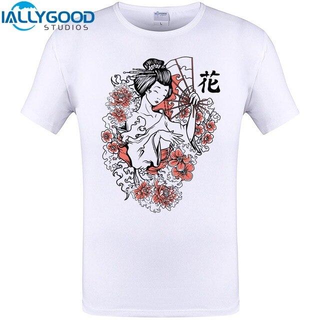 IALLYGOOD студии Harajuku японский стиль футболка модная Гейша принт футболка  Ретро футболка Мужская Фитнес Покемон рубашка 4891e9ed9dc99