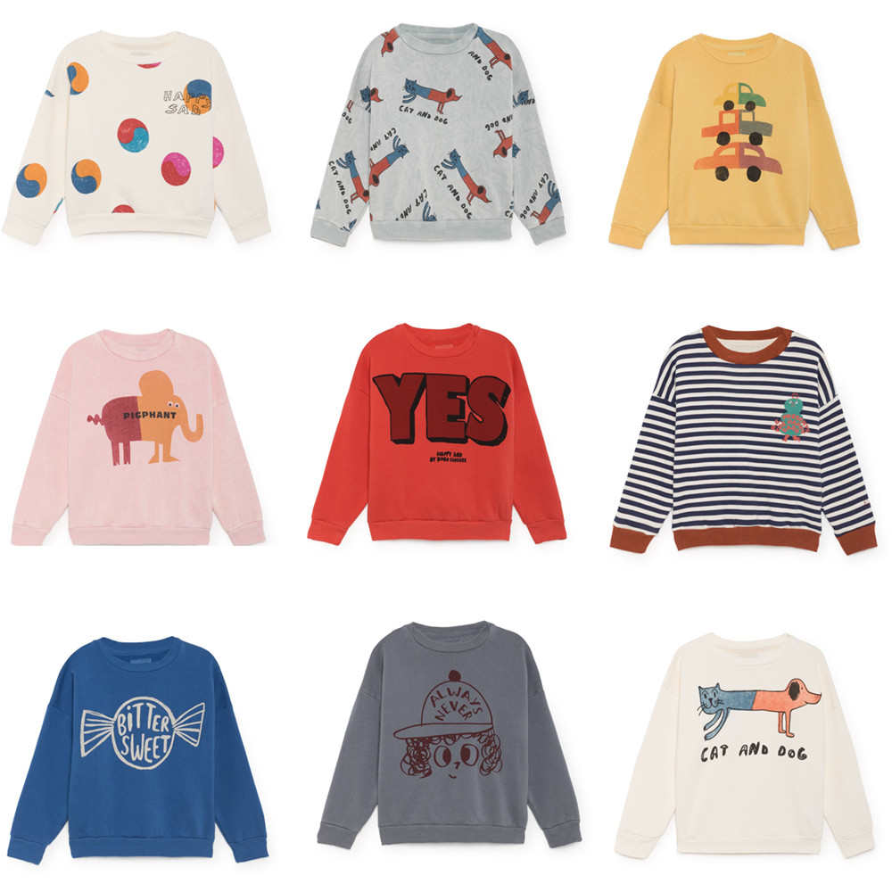 BOBOZONE 2018 Autumn Winter cat and dog print bobo Sweatshirt for kids baby tops ben and bobo